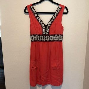Boutique coral dress with navy/white embroidery